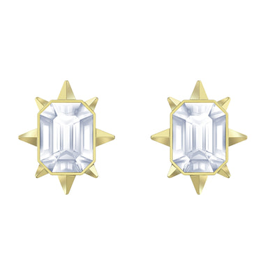 Tarot Magic Stud Pierced Earrings, White, Gold-tone plated