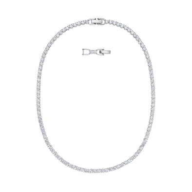 Tennis Deluxe Necklace, White, Rhodium plated