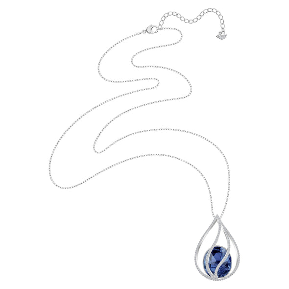 Energic Necklace, Blue, Rhodium plated
