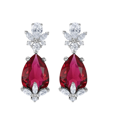 Louison Drop Pierced Earrings, Red, Rhodium plated