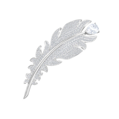 Nice Brooch, White, Rhodium plated