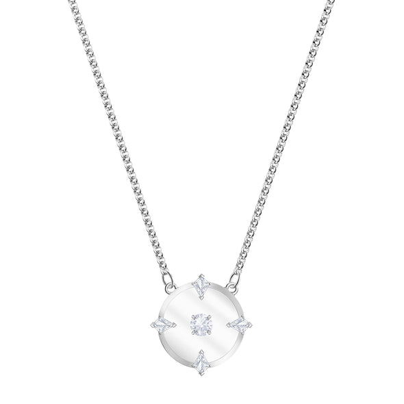North Necklace, White, Rhodium plated
