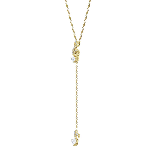 Pleasant Y Necklace, White, Gold-tone plated