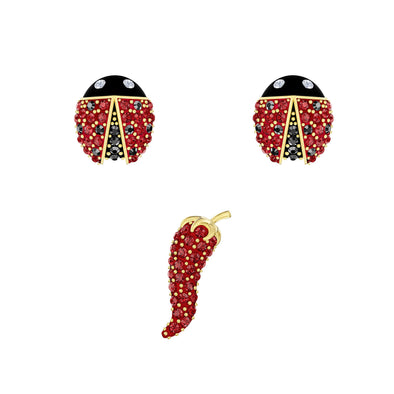 Lisabel Pierced Earrings set, Red, Gold-tone plated