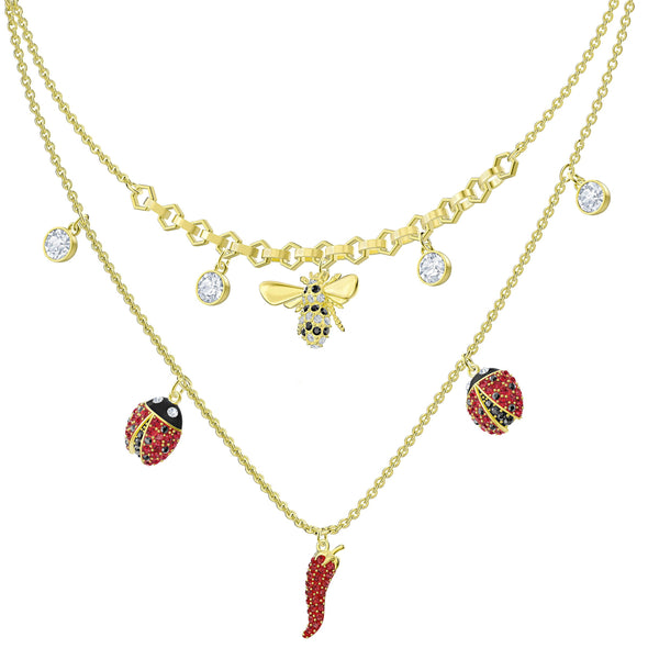 Lisabel Necklace, Red, Gold-tone plated