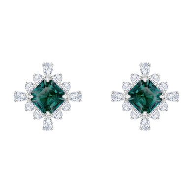 Palace Stud Pierced Earrings, Green, Rhodium plated