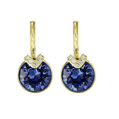 Bella V Pierced Earrings, Blue, Gold-tone plated