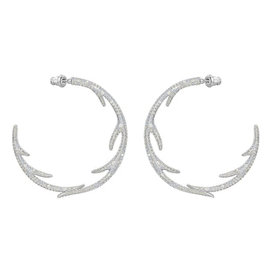 Polar Bestiary Hoop Pierced Earrings, Multi-colored, Rhodium plated