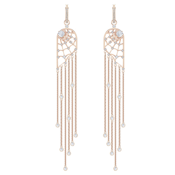 Precisely Chandelier Pierced Earrings, White, Rose-gold tone plated