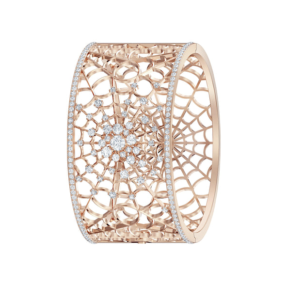 Precisely Cuff, White, Rose-gold tone plated