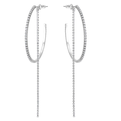 Fit Hoop Pierced Earrings, White, Stainless steel