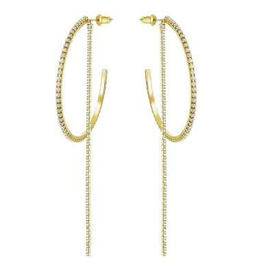 Fit Hoop Pierced Earrings, White, Gold-tone plated