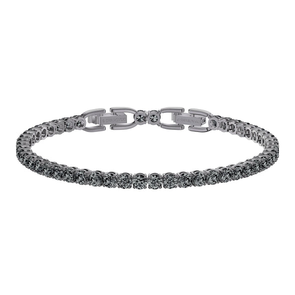Tennis Deluxe Bracelet, Black, Ruthenium plated