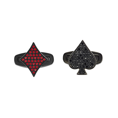 Unisex Tarot Magic Cuff Links, Red, Black PVD