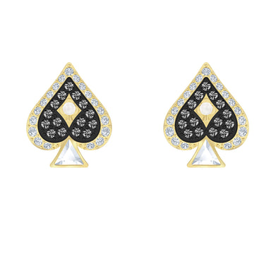 Tarot Magic Stud Pierced Earrings, Multi-colored, Gold-tone plated