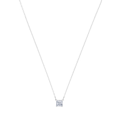 Attract Necklace, White, Rhodium plated