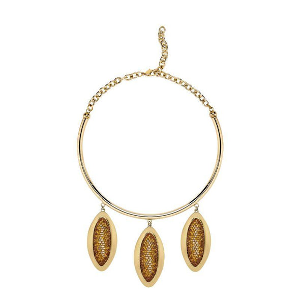 Evil Eye Statement Necklace, Brown, Gold-tone plated