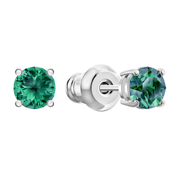 Attract Stud Pierced Earrings, Green, Rhodium plated
