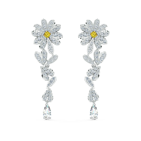 Eternal Flower Pierced Earrings, Yellow, Mixed metal finish