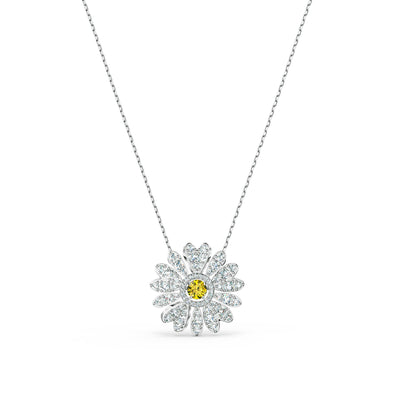 Eternal Flower Pendant, Yellow, Rhodium plated