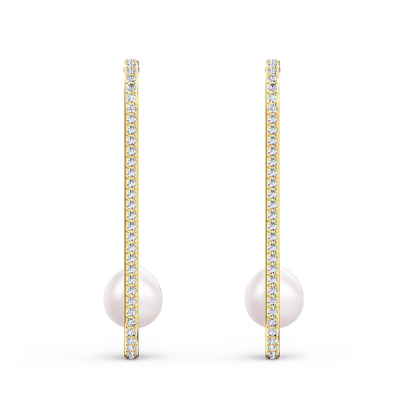 So Cool Pearl Pierced Earrings, White, Gold-tone plated