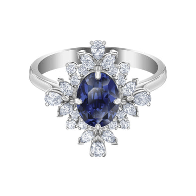 Palace Motif Ring, Blue, Rhodium plated