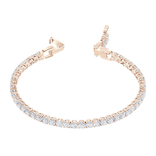 Tennis Deluxe Bracelet, White, Rose-gold tone plated