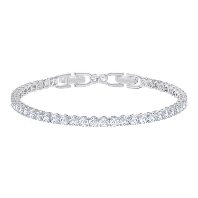 Tennis Deluxe Bracelet, White, Rhodium plated
