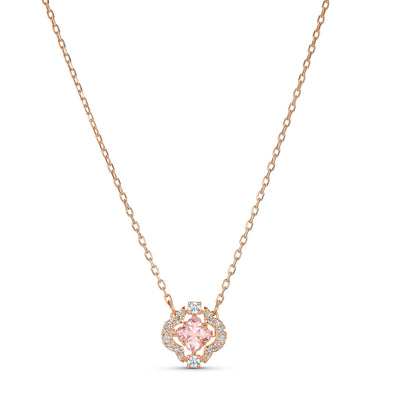 Swarovski Sparkling Dance Necklace, Pink, Rose-gold tone plated