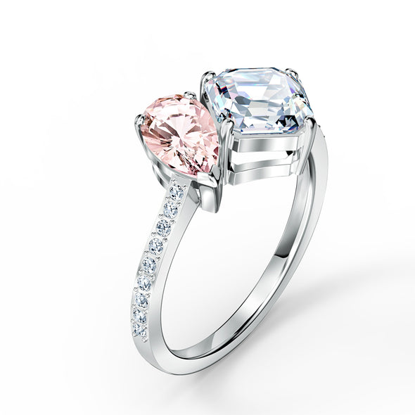Attract Soul Ring, Pink, Rhodium plated