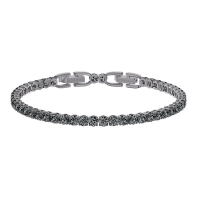 Tennis Deluxe Bracelet, Gray, Ruthenium plated