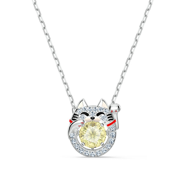 Swarovski Sparkling Dance Cat Necklace, Light multi-coloured, Rhodium plated