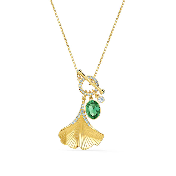 Stunning Ginko Necklace, Green, Gold-tone plated
