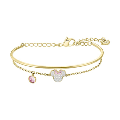 Mickey & Minnie Bangle, White, Gold-tone plated