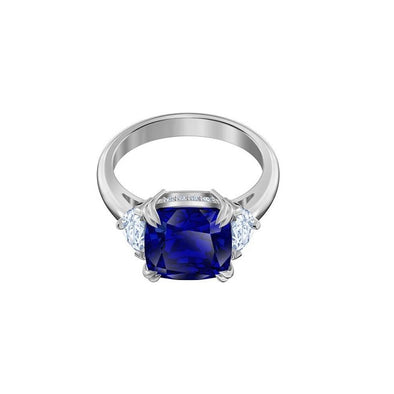 Attract Cocktail Ring, Blue, Rhodium Plated