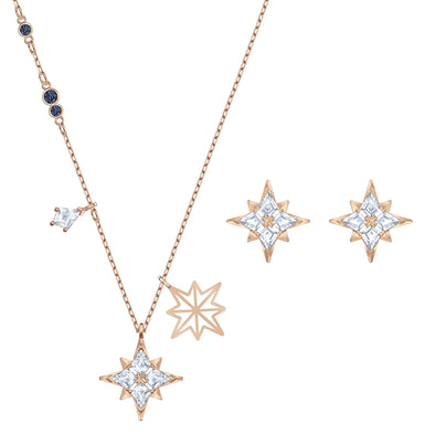 Swarovski Symbolic Star Set, White, Rose-gold tone plated