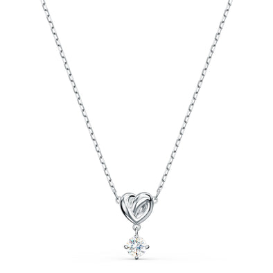 Lifelong Heart Pendant, White, Rhodium plated