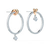 Lifelong Heart Hoop Pierced Earrings, White, Mixed metal finish