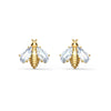 Eternal Flower Bee Pierced Earrings, White, Gold-tone plated