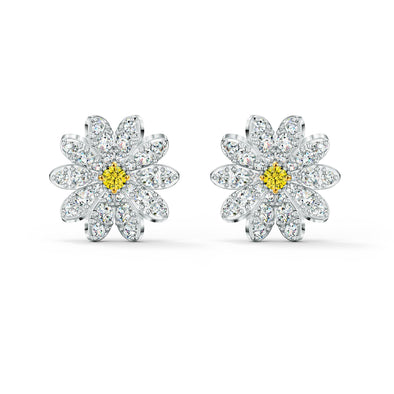 Eternal Flower Stud Pierced Earrings, Yellow, Mixed metal finish