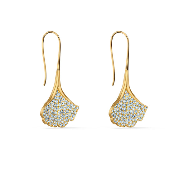 Stunning Ginko Pierced Earrings, White, Gold-tone plated