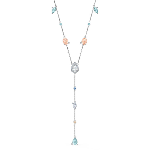 Sunny Y Necklace, Light multi-coloured, Rhodium plated
