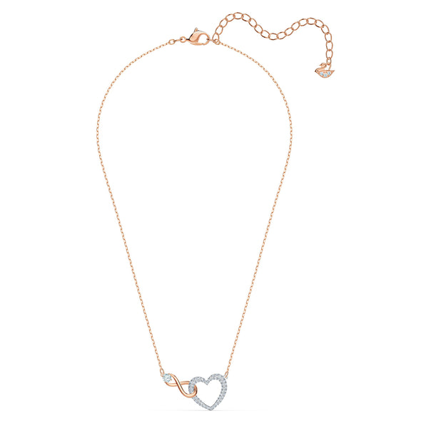 Swarovski Infinity Heart Necklace, White, Mixed metal finish