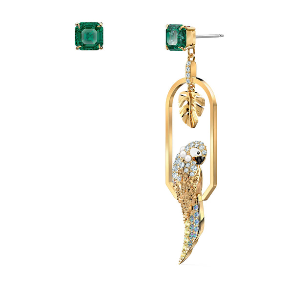 Tropical Parrot Pierced Earrings, Light multi-coloured, Gold-tone plated