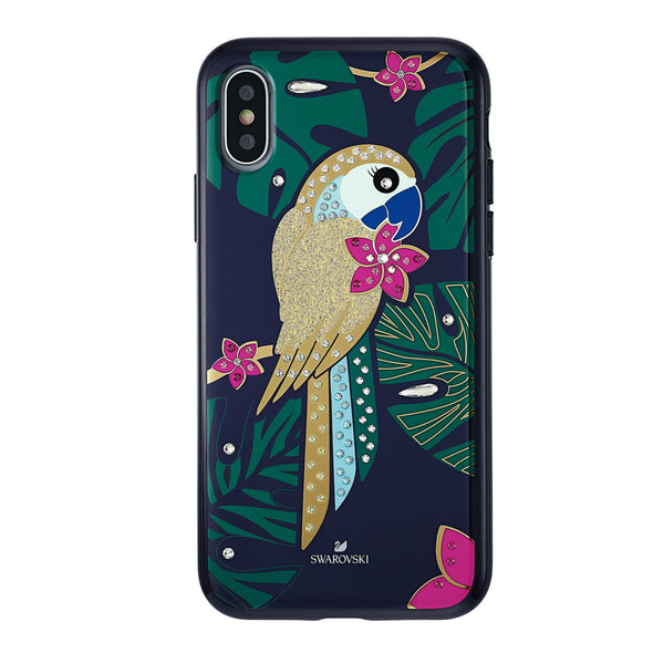 Tropical Parrot Smartphone Case with Bumper, iPhone® X/XS, Dark multi-coloured