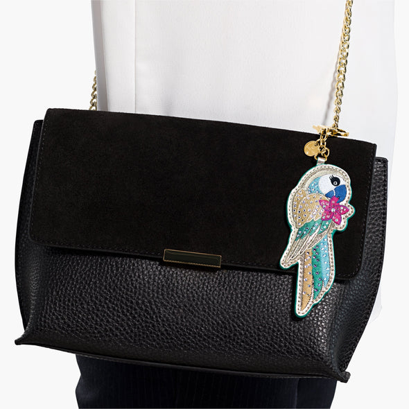 Tropical Parrot Bag Charm, Dark multi-coloured, Gold-tone plated