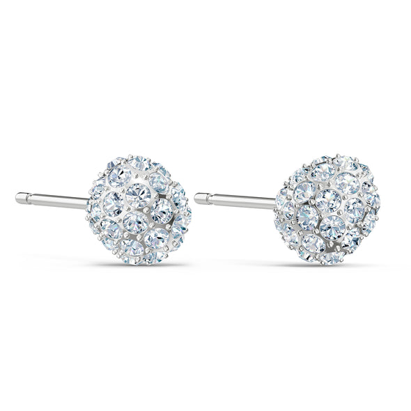 So Cool Stud Pierced Earrings, White, Rhodium plated