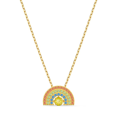 Swarovski Sparkling Dance Rainbow Necklace, Light multi-coloured, Gold-tone plated