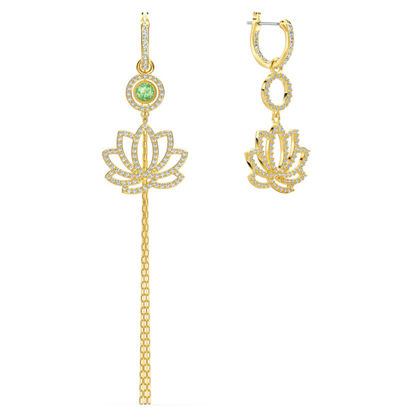 Swarovski Symbolic Lotus Pierced Earrings, Green, Gold-tone plated