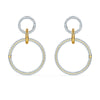 Stone Hoop Pierced Earrings, White, Mixed metal finish